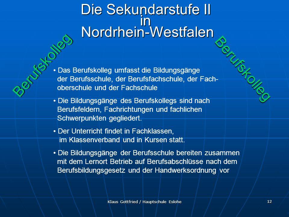 Die Sekundarstufe II in Nordrhein-Westfalen