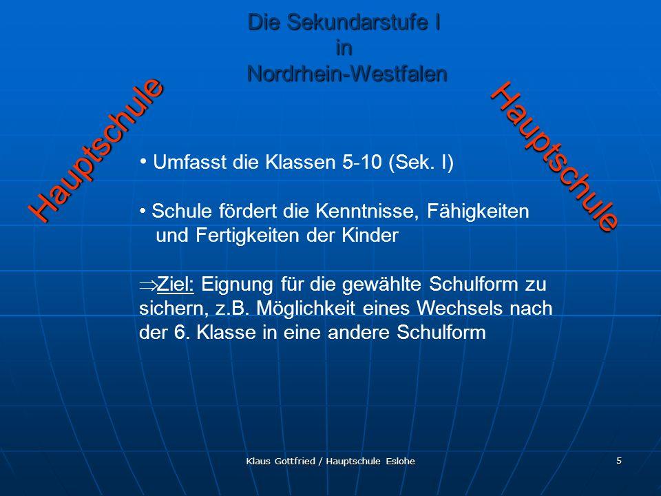 Hauptschule Hauptschule Die Sekundarstufe I in Nordrhein-Westfalen