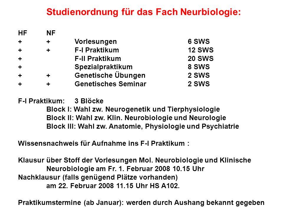 Studienordnung für das Fach Neurbiologie: