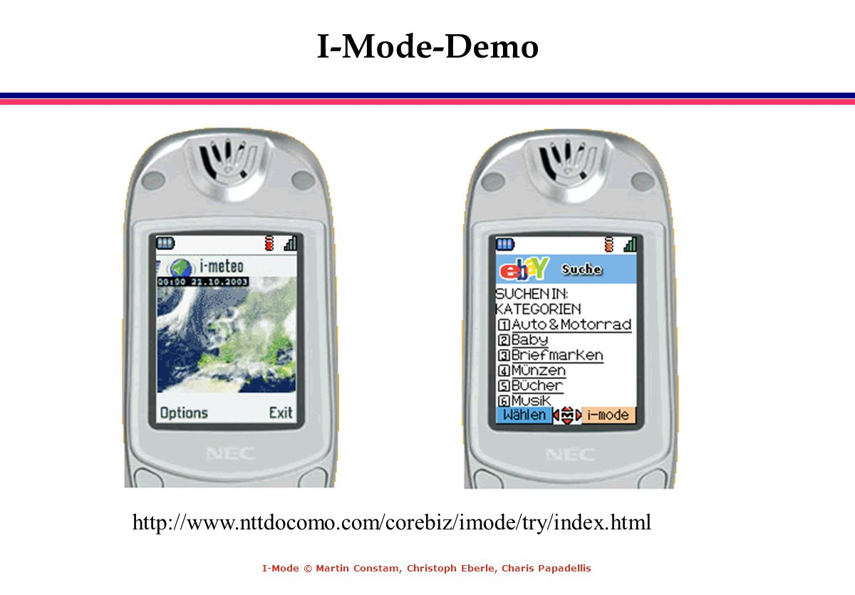 I-Mode-Demo http://www.nttdocomo.com/corebiz/imode/try/index.html
