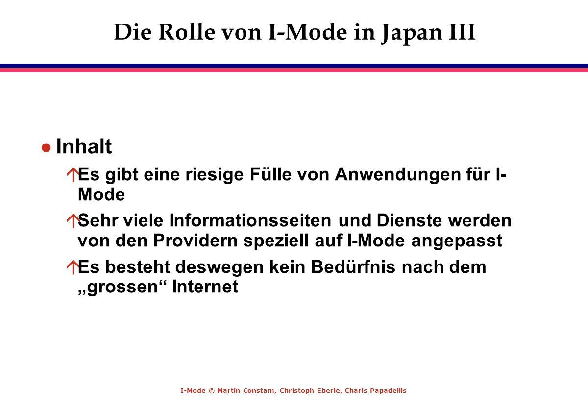 Die Rolle von I-Mode in Japan III