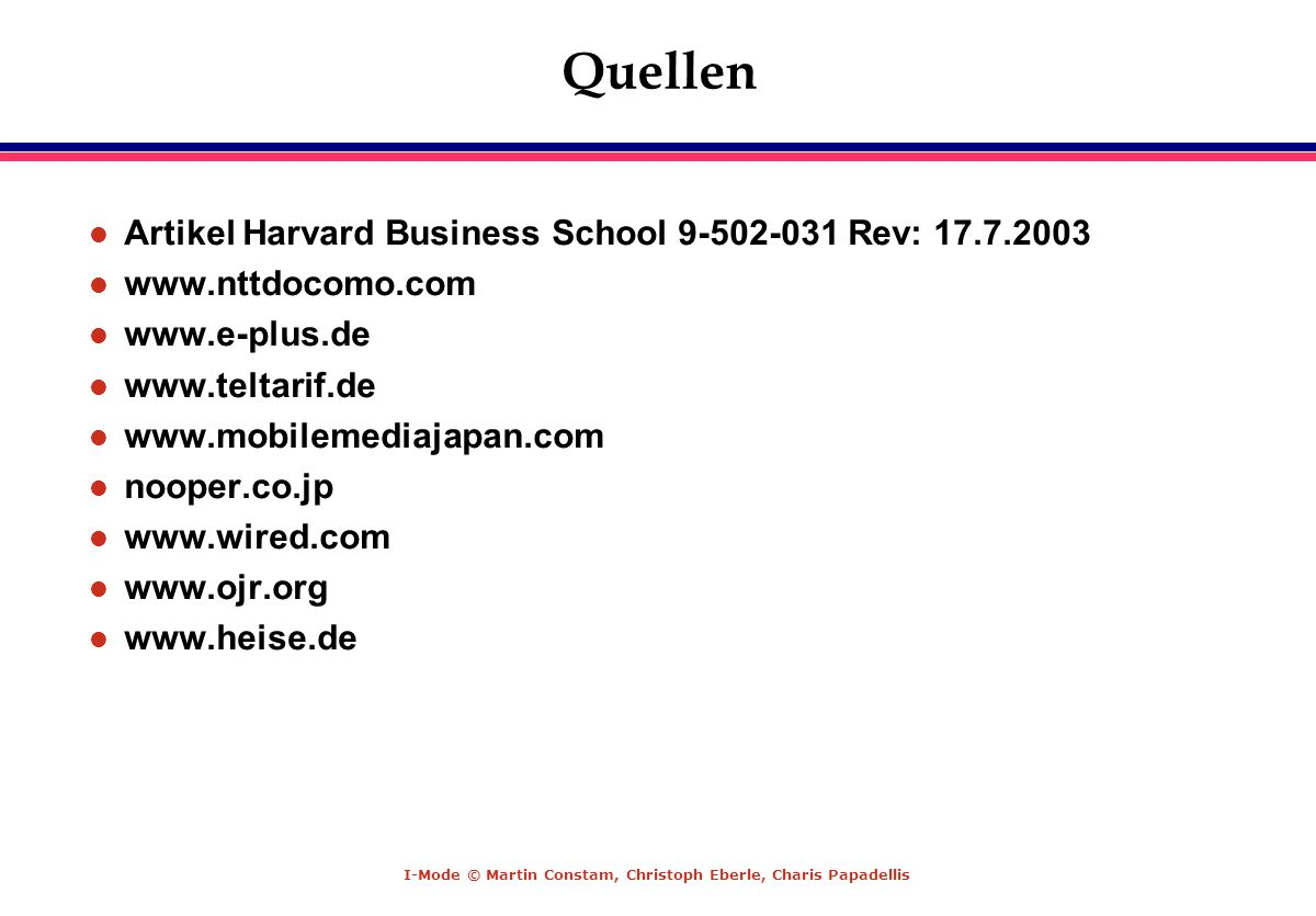 Quellen Artikel Harvard Business School 9-502-031 Rev: 17.7.2003