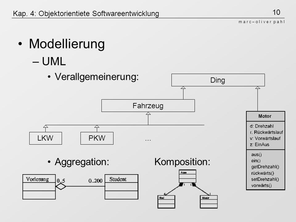 Kap. 4: Objektorientiete Softwareentwicklung