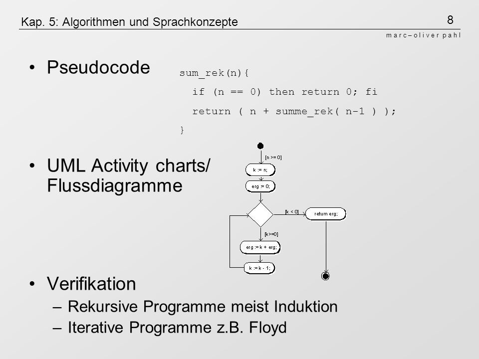 Kap. 5: Algorithmen und Sprachkonzepte