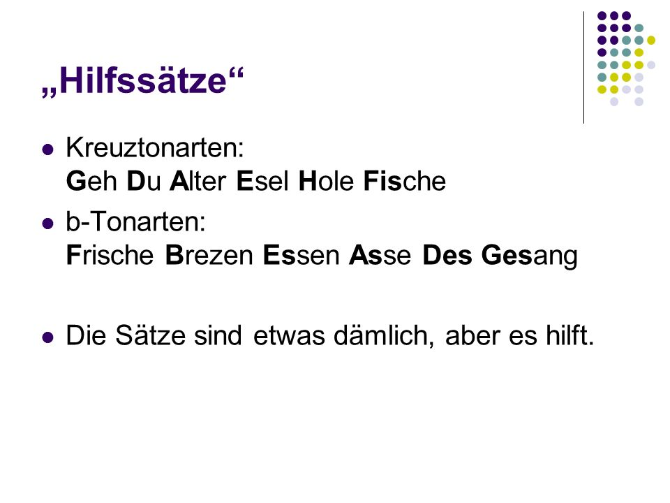 """""""Hilfssätze Kreuztonarten: Geh Du Alter Esel Hole Fische"""