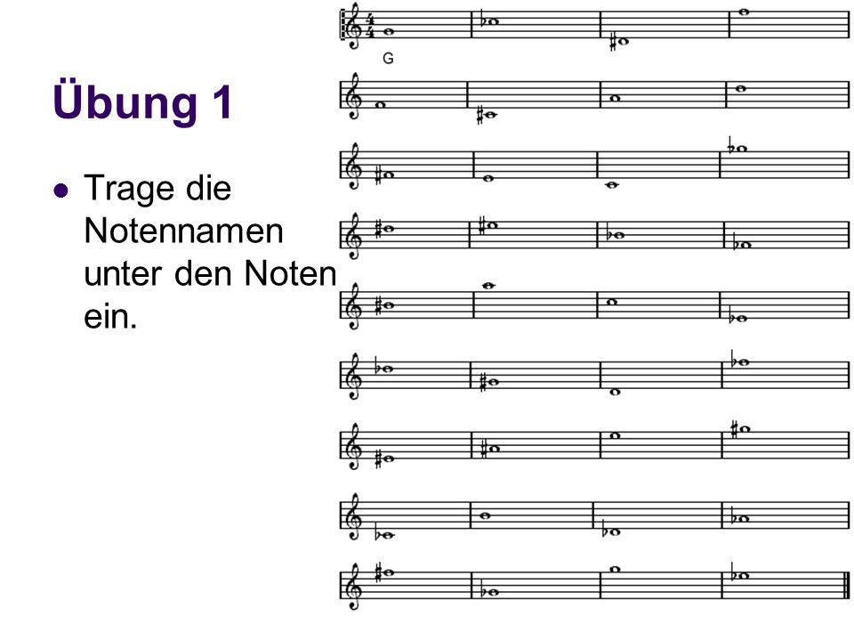 Harmonielehre I Übung 1 Trage die Notennamen unter den Noten ein.