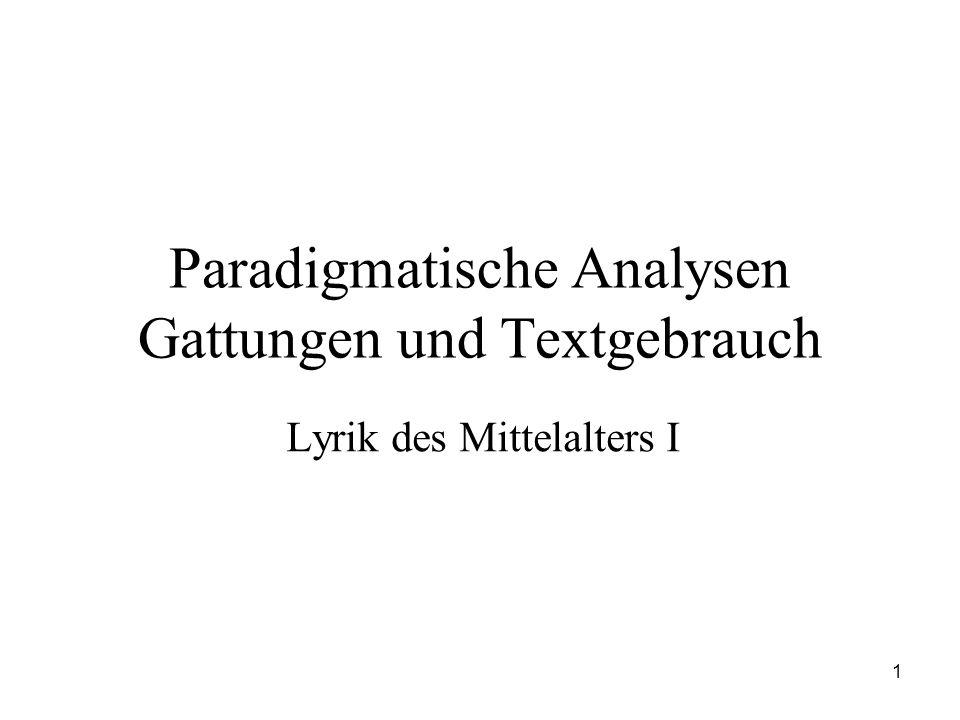 Paradigmatische Analysen Gattungen und Textgebrauch