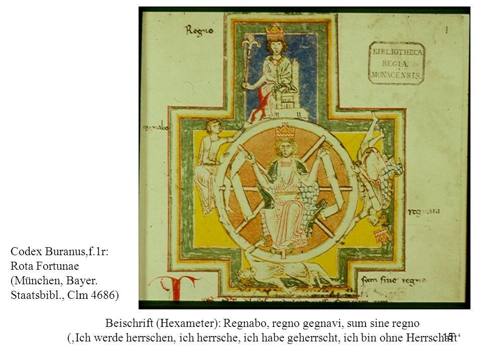 Beischrift (Hexameter): Regnabo, regno gegnavi, sum sine regno