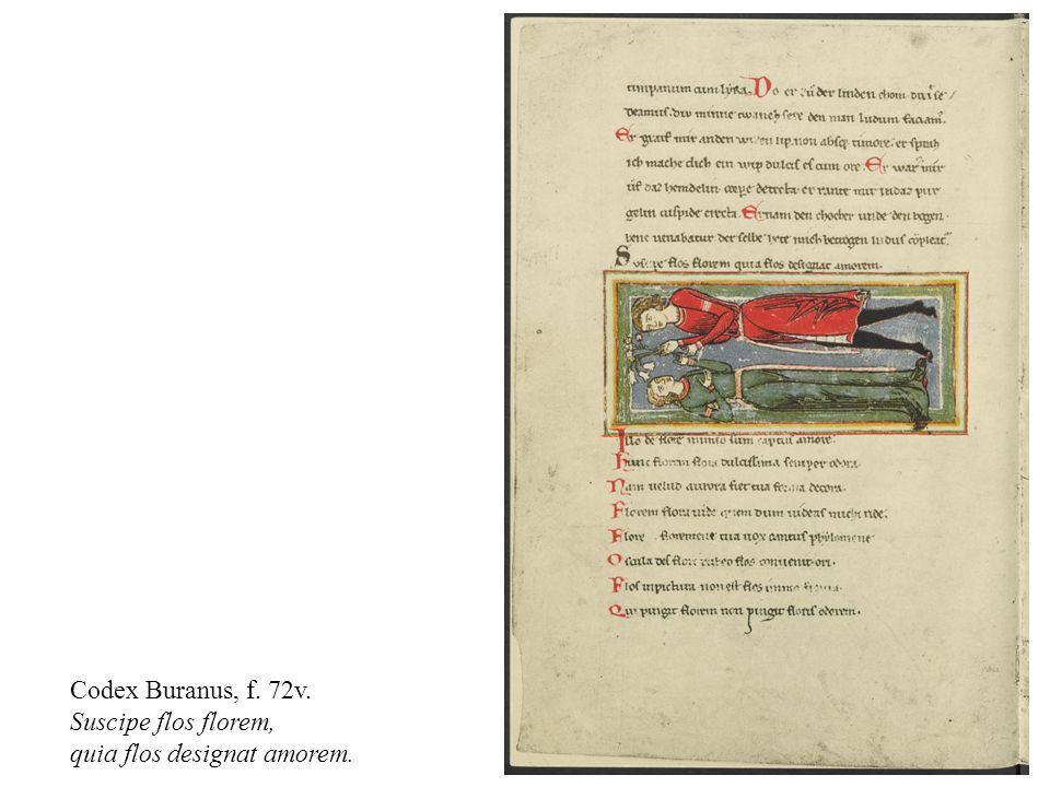Codex Buranus, f. 72v. Suscipe flos florem, quia flos designat amorem.