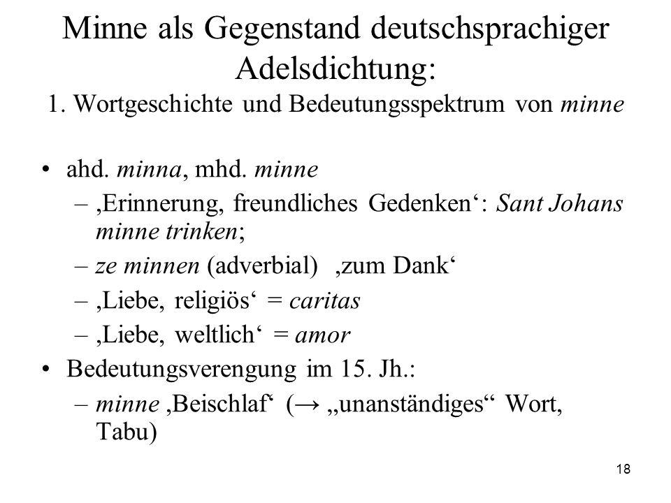 Minne als Gegenstand deutschsprachiger Adelsdichtung: 1
