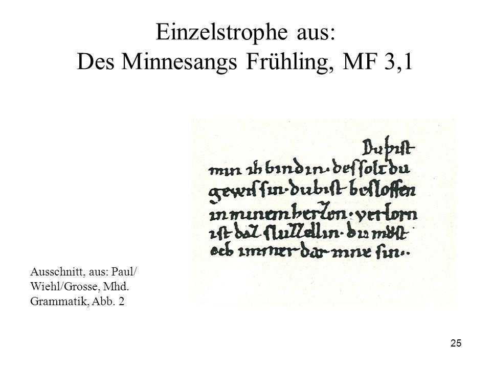 Einzelstrophe aus: Des Minnesangs Frühling, MF 3,1