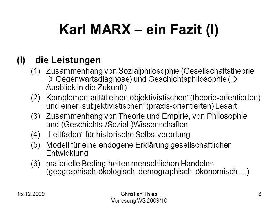 Karl MARX – ein Fazit (I)