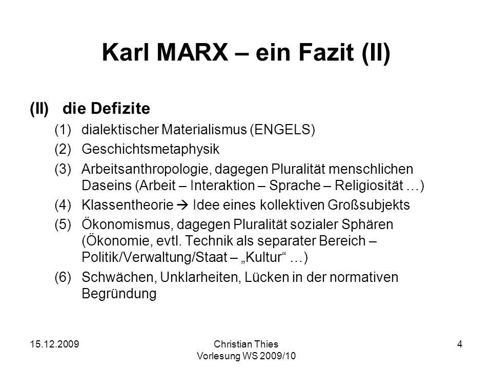 Karl MARX – ein Fazit (II)