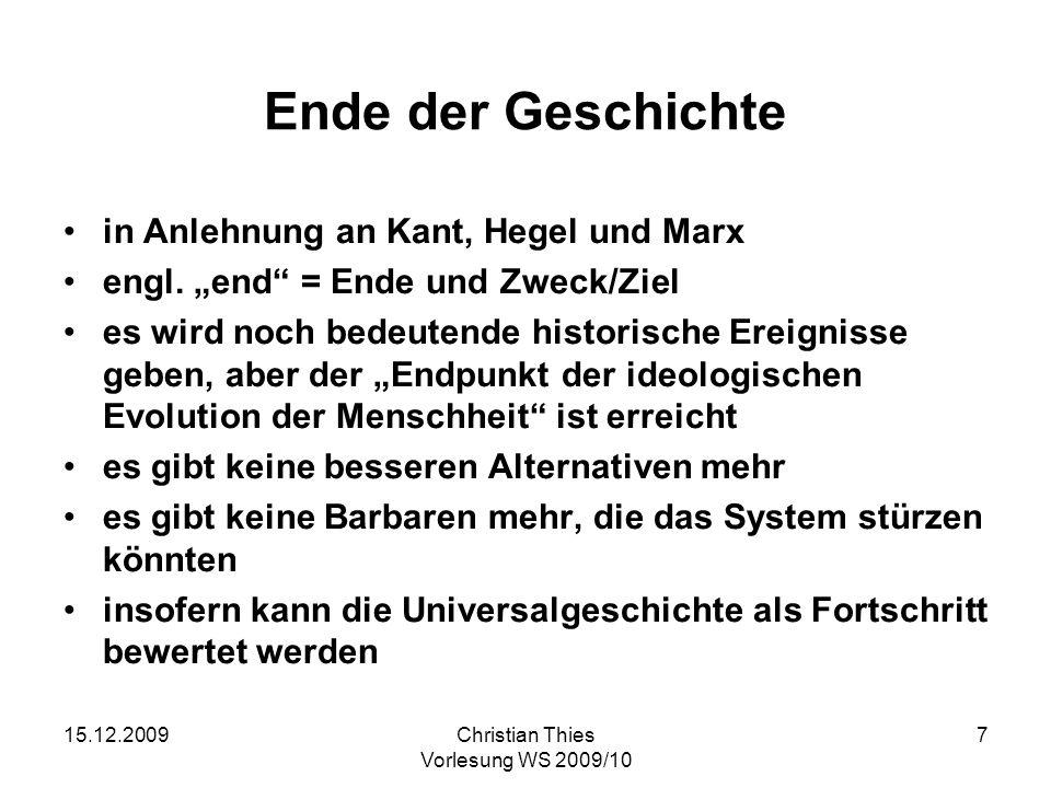 Ende der Geschichte in Anlehnung an Kant, Hegel und Marx