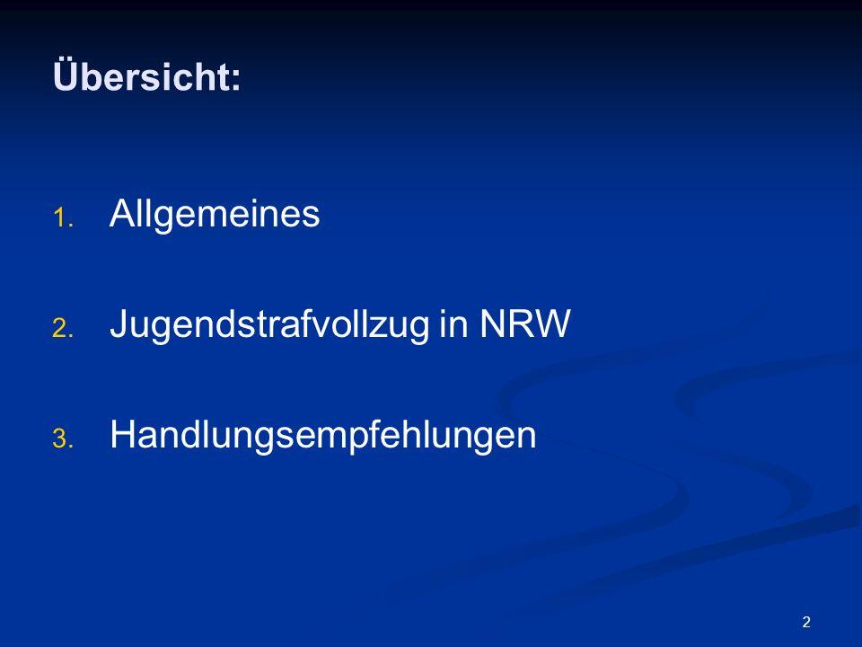 Übersicht: Allgemeines Jugendstrafvollzug in NRW Handlungsempfehlungen