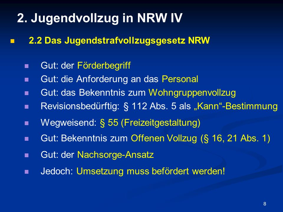 2. Jugendvollzug in NRW IV