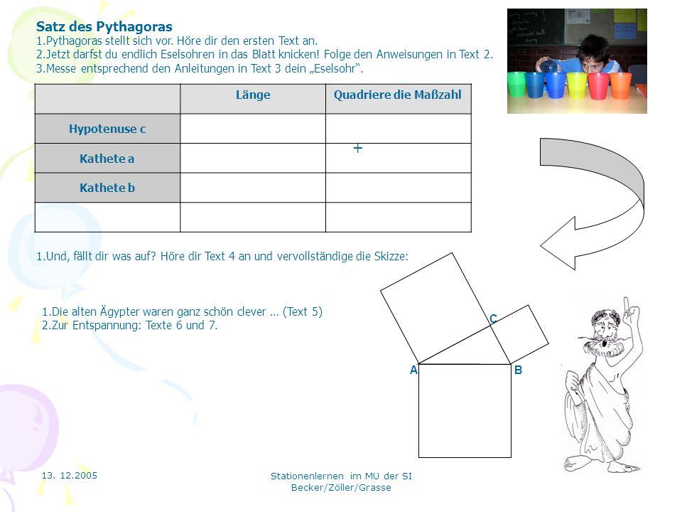 Satz des PythagorasPythagoras stellt sich vor. Höre dir den ersten Text an.