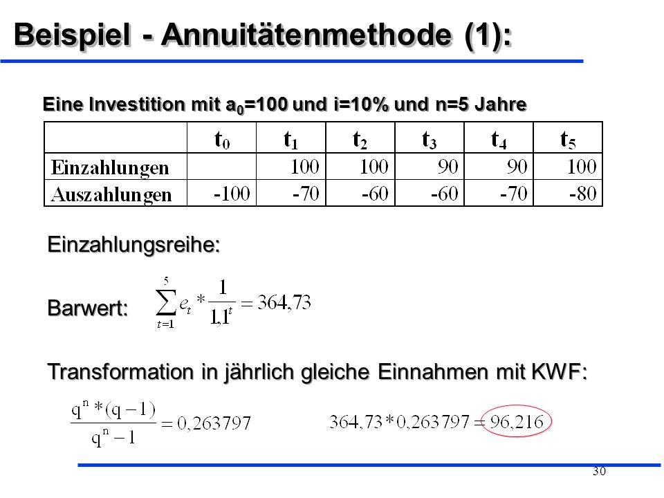 Beispiel - Annuitätenmethode (1):