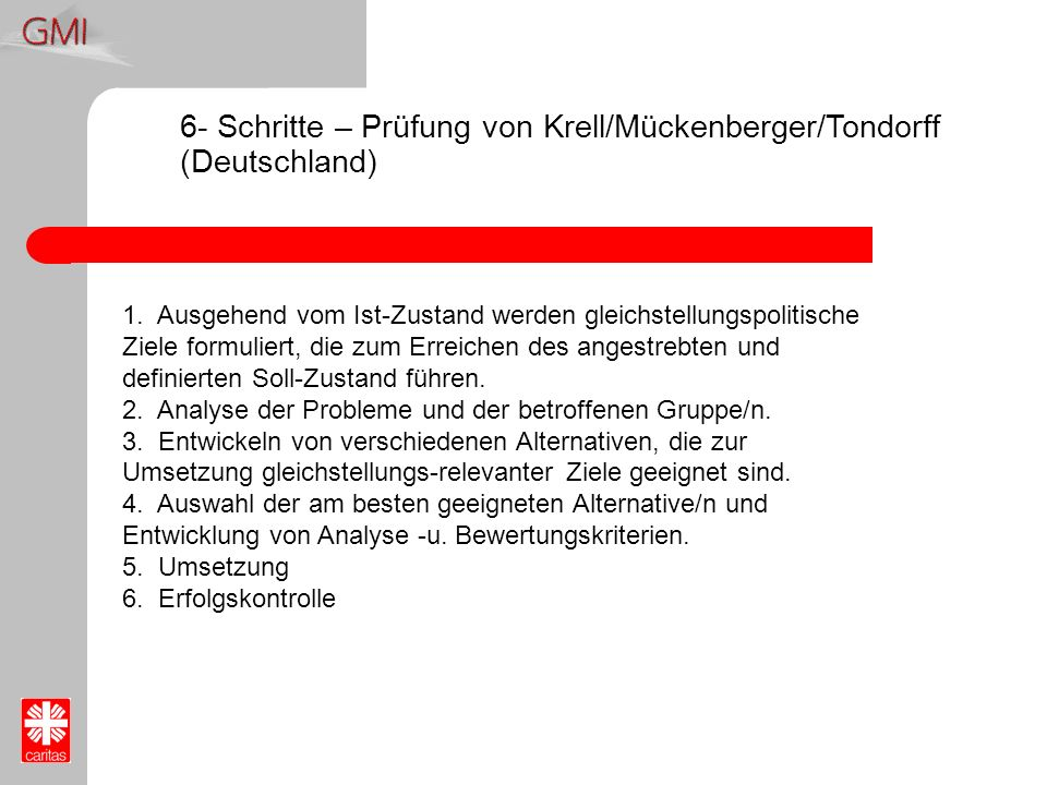 6- Schritte – Prüfung von Krell/Mückenberger/Tondorff (Deutschland)