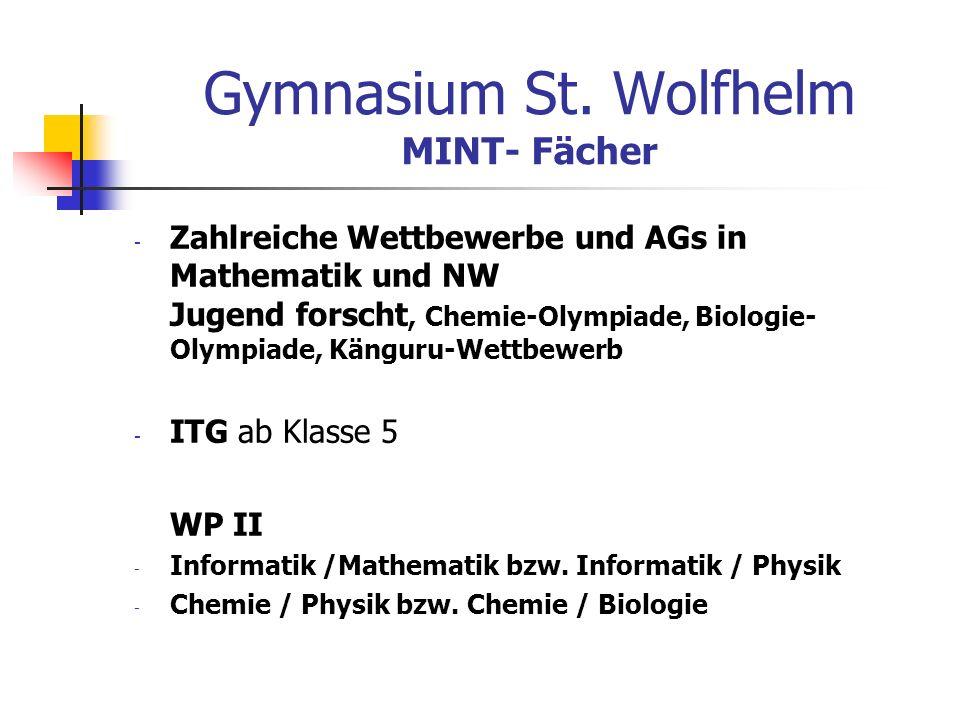 Gymnasium St. Wolfhelm MINT- Fächer