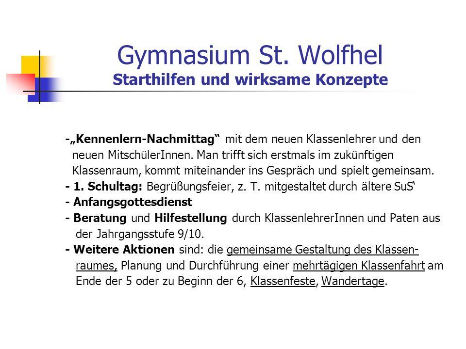 Gymnasium St. Wolfhel Starthilfen und wirksame Konzepte