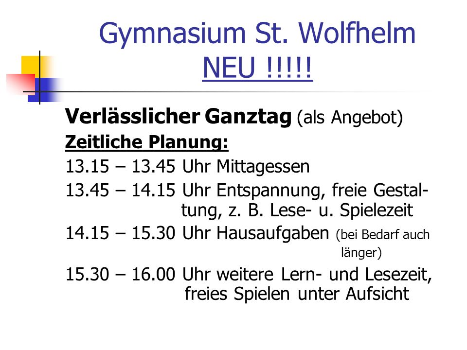 Gymnasium St. Wolfhelm NEU !!!!!