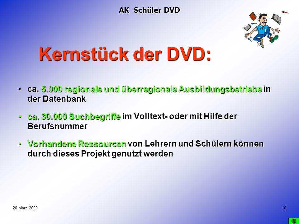 AK Schüler DVD Kernstück der DVD: ca. 5.000 regionale und überregionale Ausbildungsbetriebe in der Datenbank.