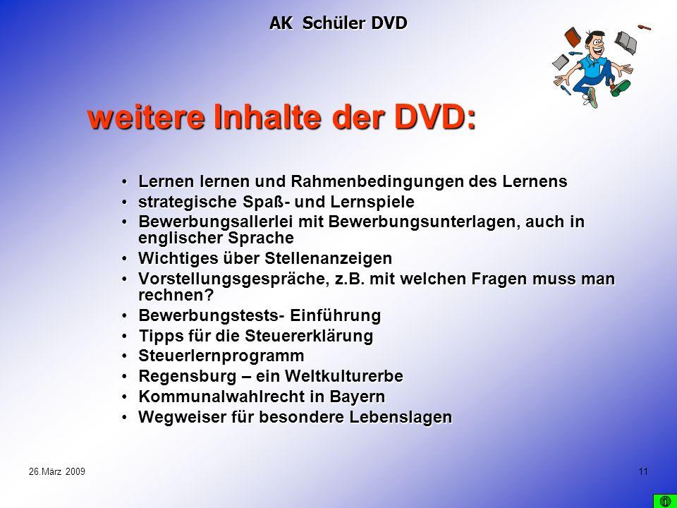 weitere Inhalte der DVD: