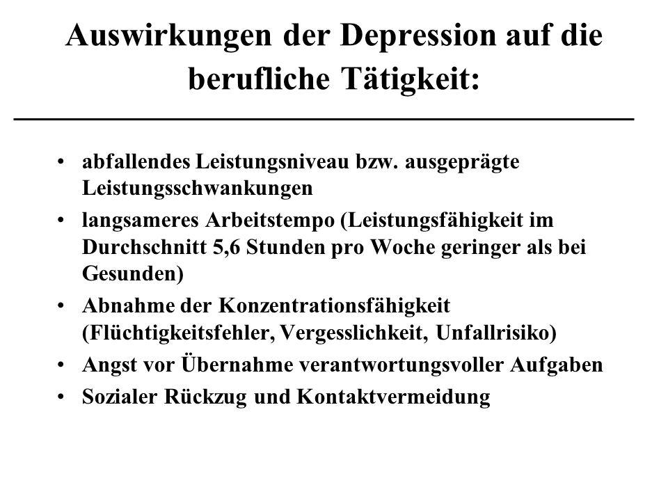 Auswirkungen der Depression auf die berufliche Tätigkeit:
