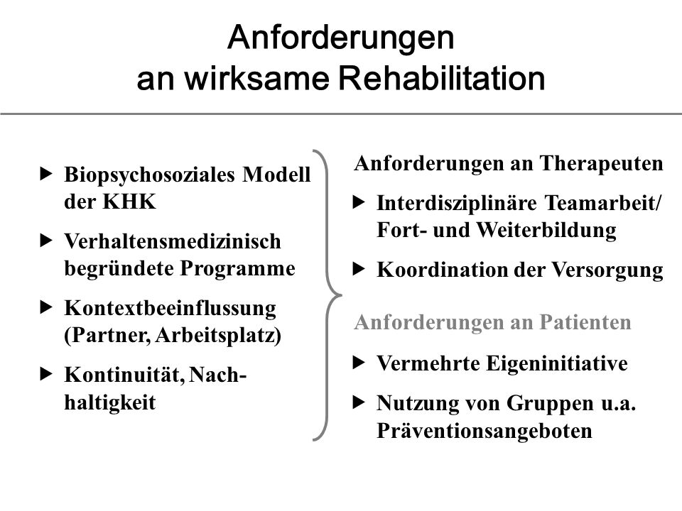 Anforderungen an wirksame Rehabilitation