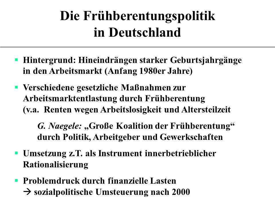 Die Frühberentungspolitik in Deutschland