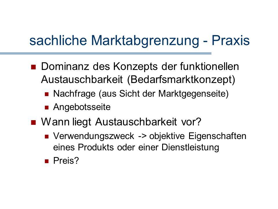 sachliche Marktabgrenzung - Praxis