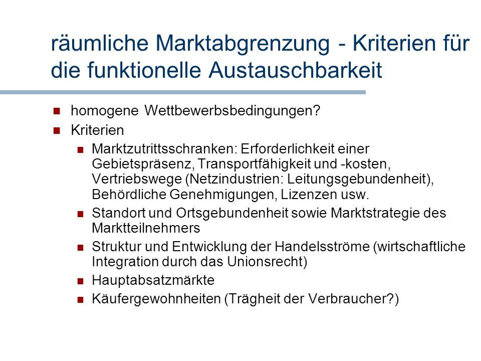 räumliche Marktabgrenzung - Kriterien für die funktionelle Austauschbarkeit