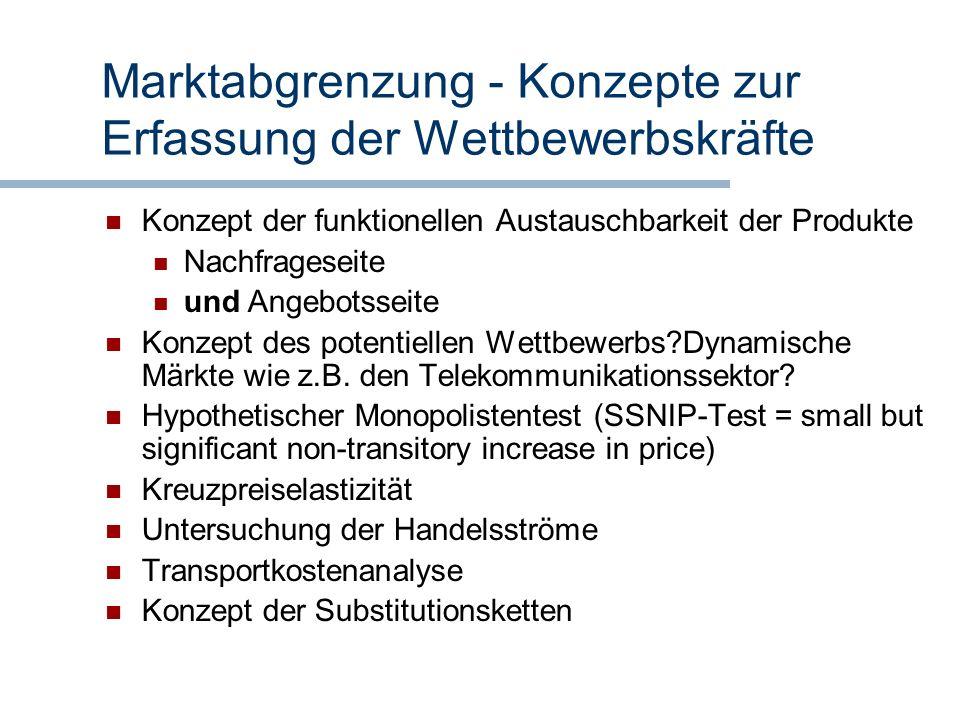 Marktabgrenzung - Konzepte zur Erfassung der Wettbewerbskräfte
