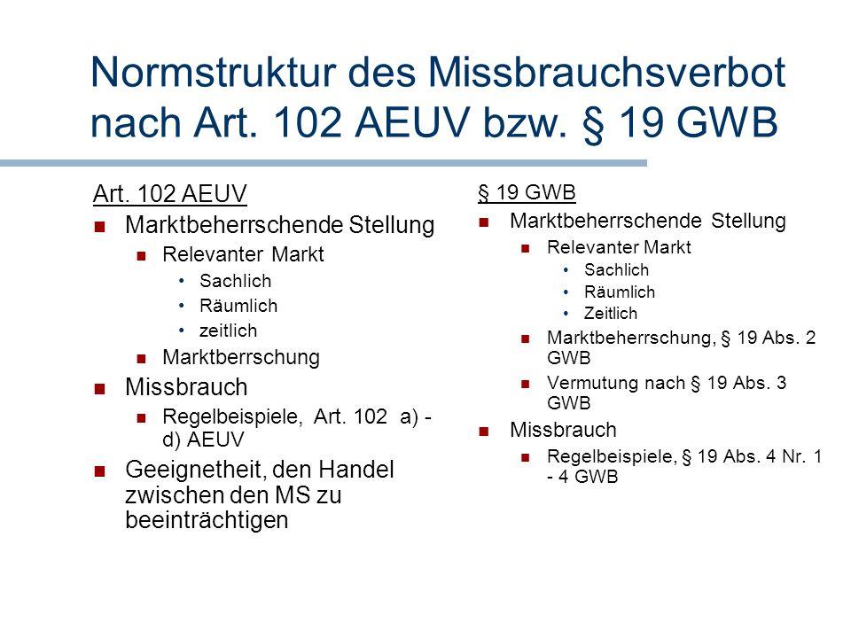 Normstruktur des Missbrauchsverbot nach Art. 102 AEUV bzw. § 19 GWB