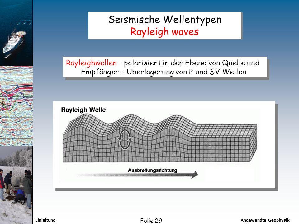 Seismische Wellentypen Rayleigh waves