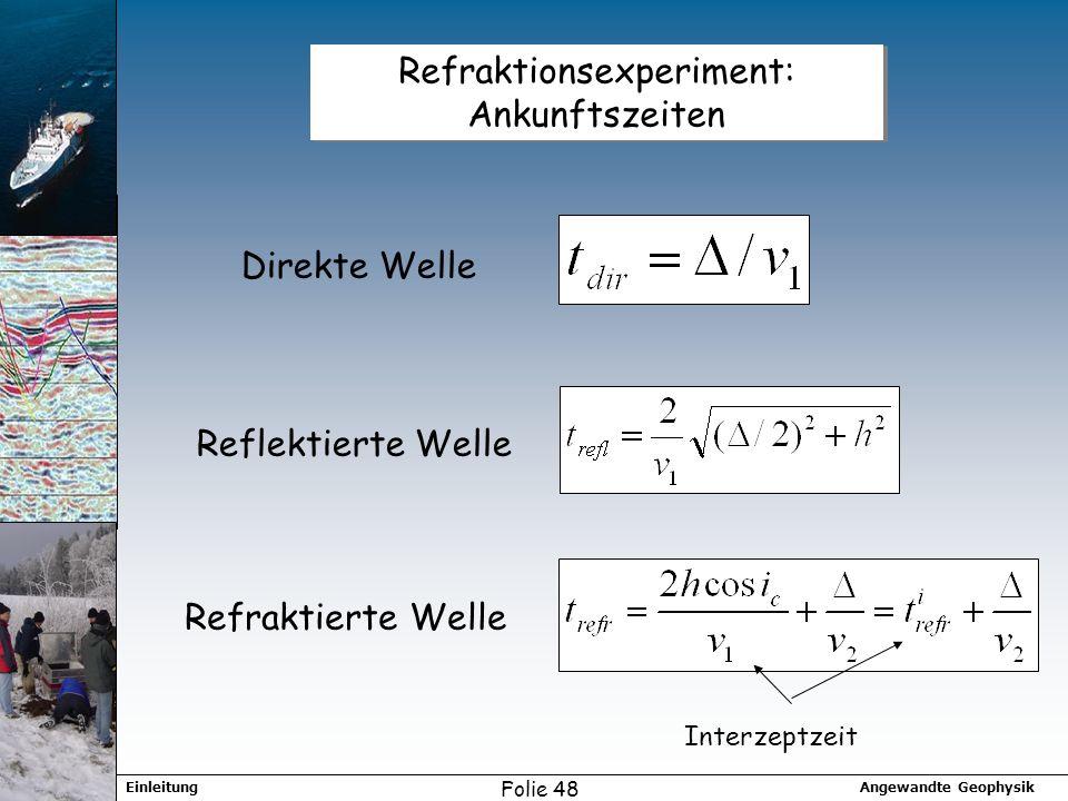 Refraktionsexperiment: Ankunftszeiten