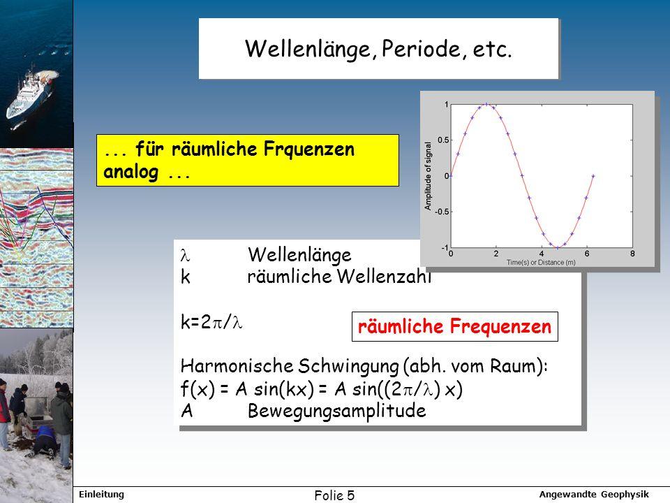 Wellenlänge, Periode, etc.