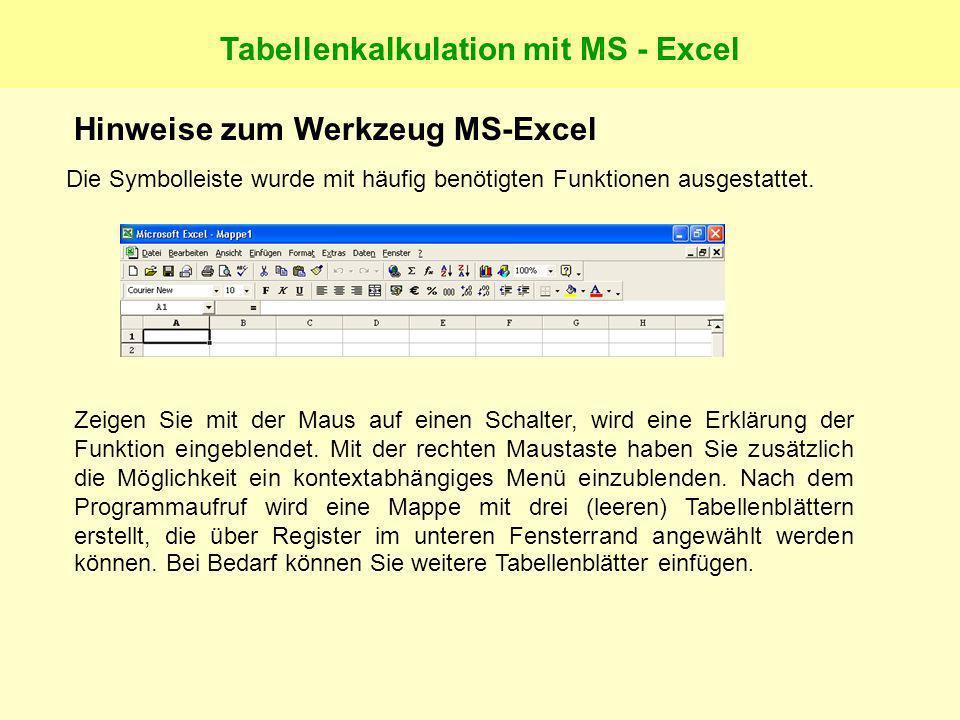 Tabellenkalkulation mit MS - Excel