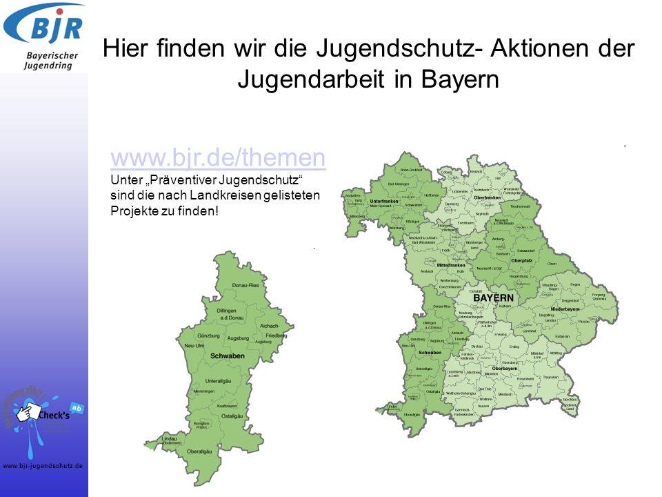 Hier finden wir die Jugendschutz- Aktionen der Jugendarbeit in Bayern