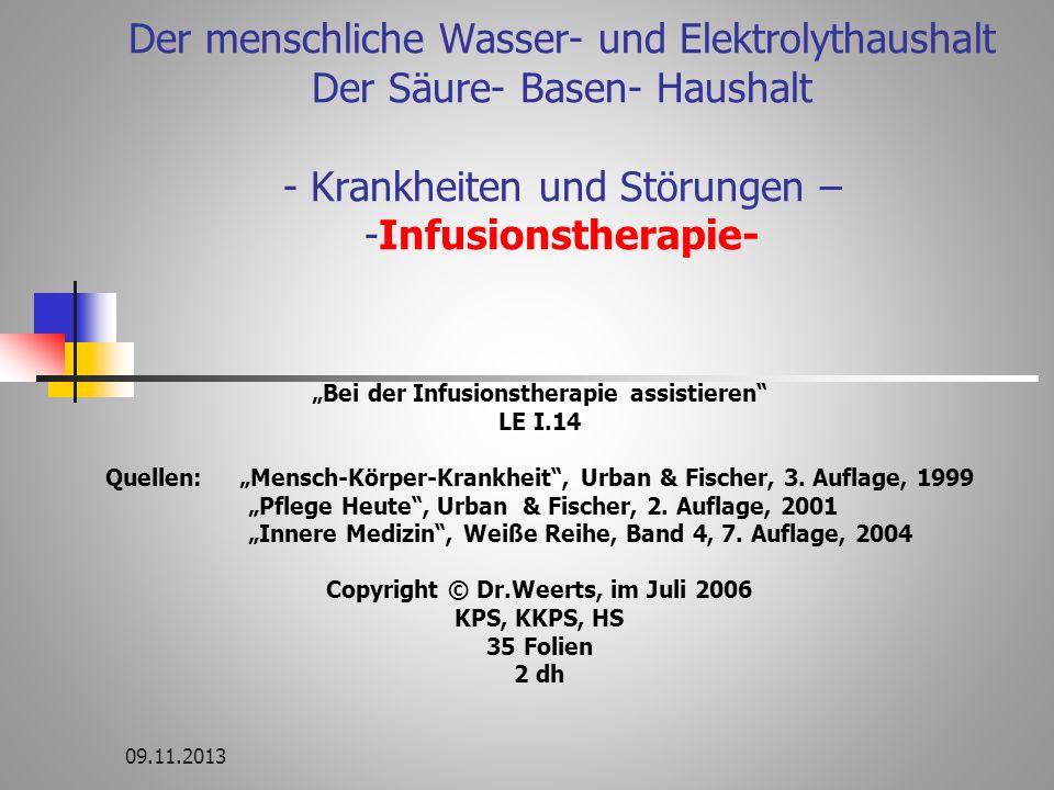 Der menschliche Wasser- und Elektrolythaushalt Der Säure- Basen- Haushalt - Krankheiten und Störungen – -Infusionstherapie-
