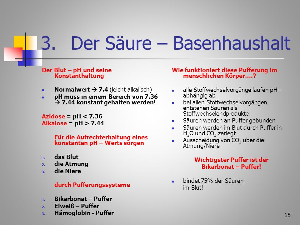 3. Der Säure – Basenhaushalt