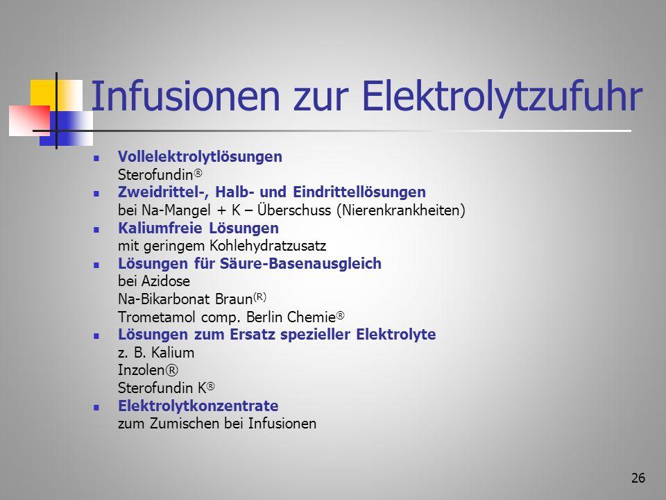 Infusionen zur Elektrolytzufuhr