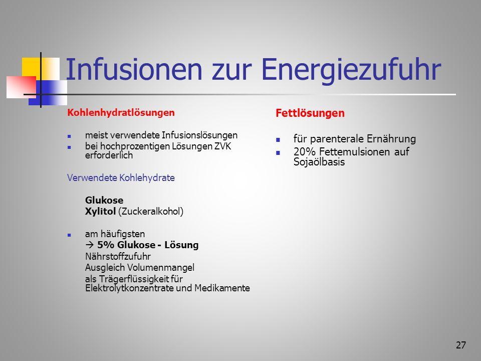 Infusionen zur Energiezufuhr