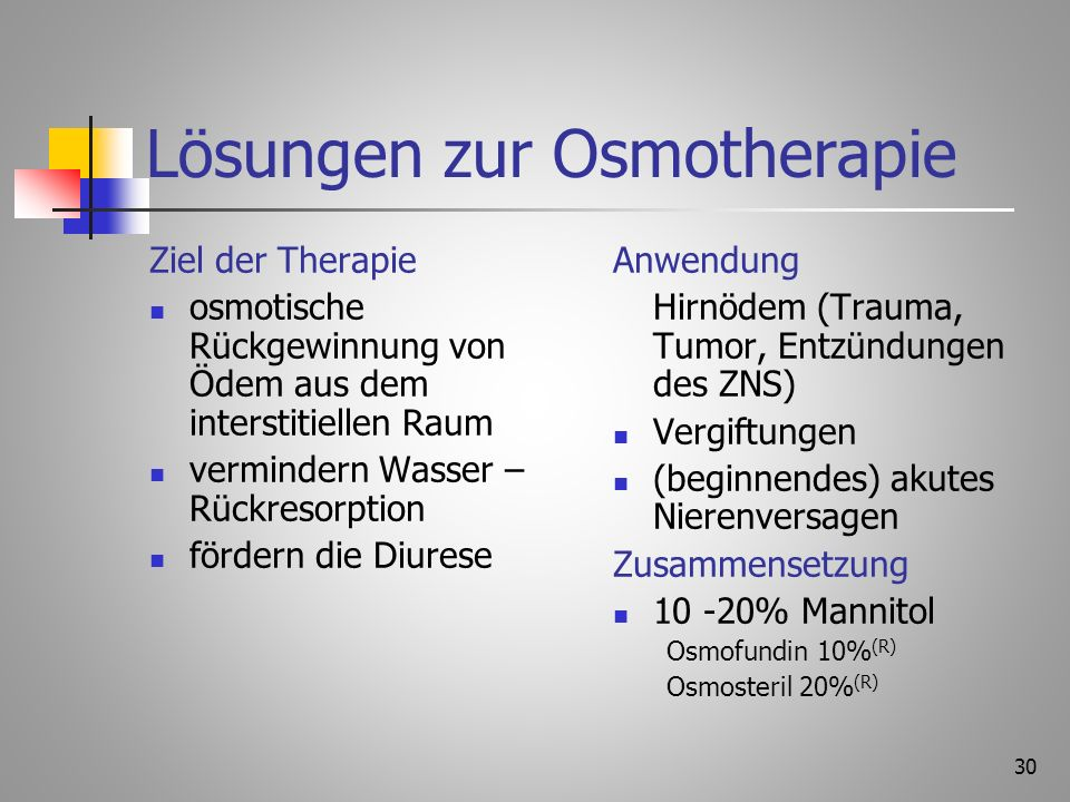 Lösungen zur Osmotherapie