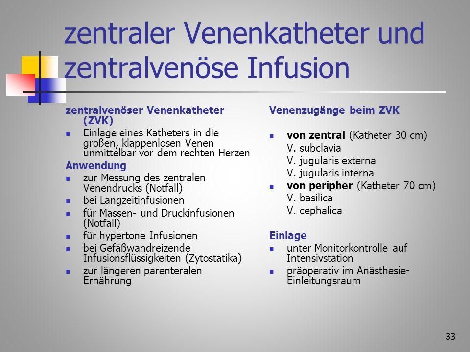 zentraler Venenkatheter und zentralvenöse Infusion