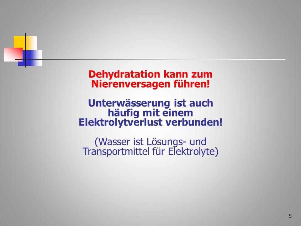 Dehydratation kann zum Nierenversagen führen!