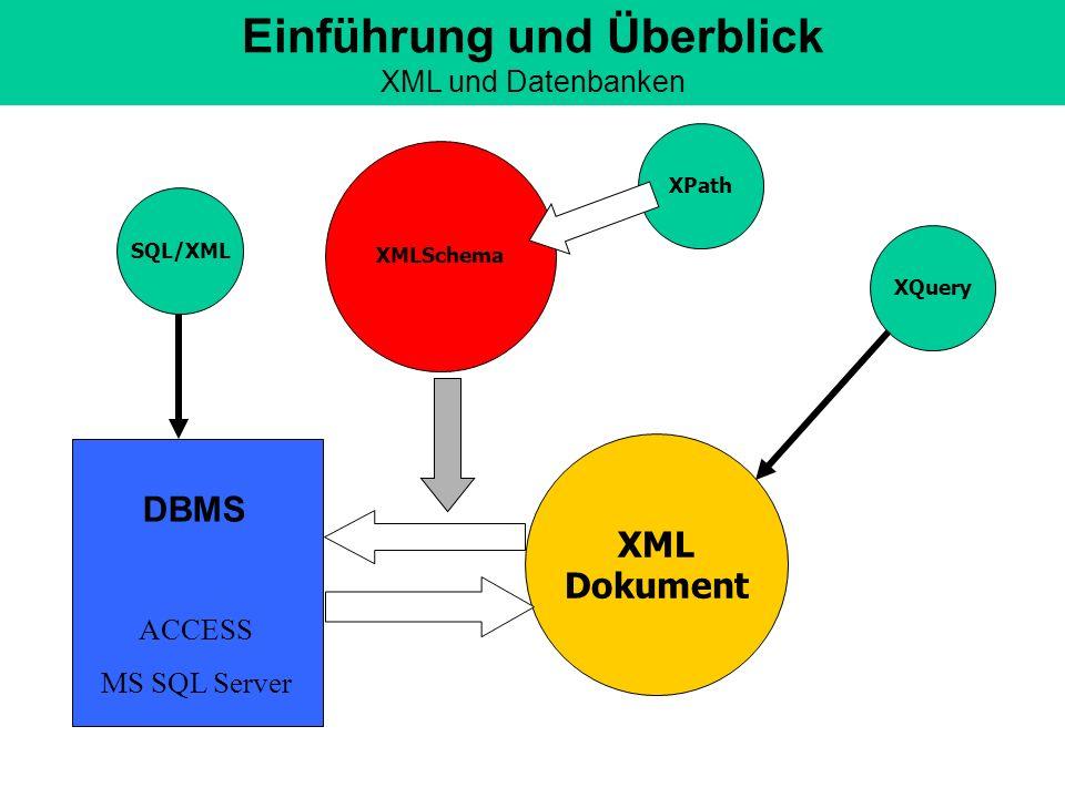 Einführung und Überblick XML und Datenbanken
