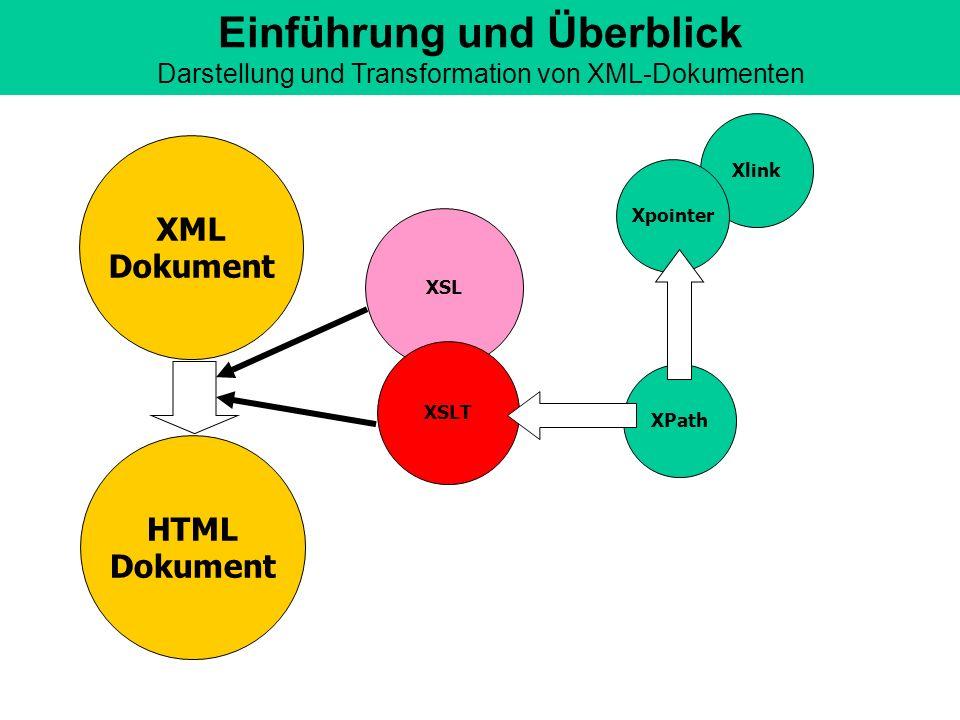 Einführung und Überblick Darstellung und Transformation von XML-Dokumenten