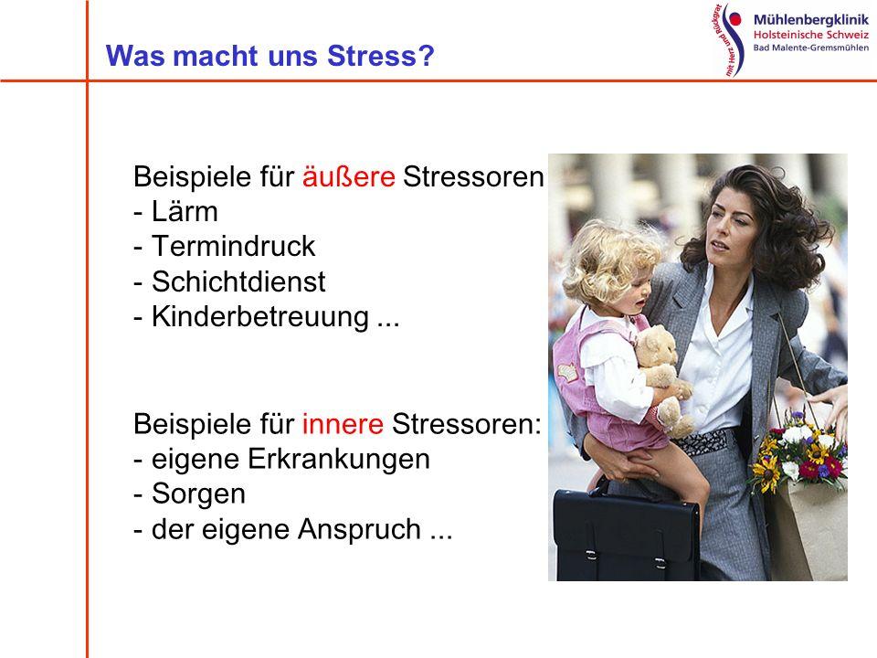 Was macht uns Stress Beispiele für äußere Stressoren. Lärm. Termindruck. Schichtdienst. Kinderbetreuung ...
